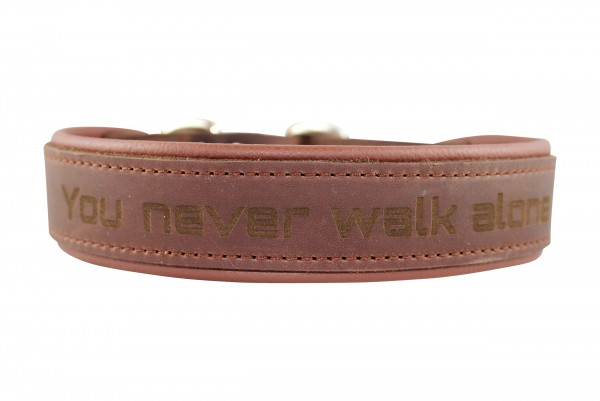 Lederhalsband mit You never walk alone Gravur